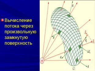 Вычисление потока через произвольную замкнутую поверхность Вычисление потока чер