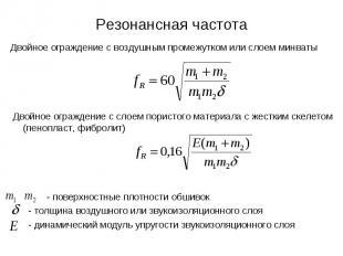 Резонансная частота Двойное ограждение с воздушным промежутком или слоем минваты