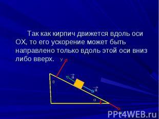 Так как кирпич движется вдоль оси ОХ, то его ускорение может быть направлено тол