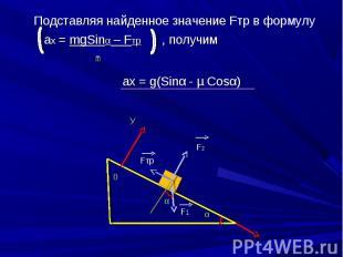 Подставляя найденное значение Fтр в формулу Подставляя найденное значение Fтр в