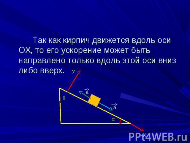Так как кирпич движется вдоль оси ОХ, то его ускорение может быть направлено только вдоль этой оси вниз либо вверх. Так как кирпич движется вдоль оси ОХ, то его ускорение может быть направлено только вдоль этой оси вниз либо вверх. а а