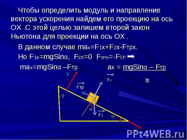 Чтобы определить модуль и направление вектора ускорения найдем его проекцию на ось ОХ .С этой целью запишем второй закон Ньютона для проекции на ось ОХ . Чтобы определить модуль и направление вектора ускорения найдем его проекцию на ось ОХ .С этой ц…