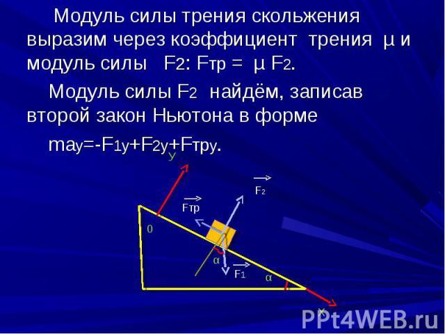 Модуль силы трения скольжения выразим через коэффициент трения µ и модуль силы F2: Fтр = µ F2. Модуль силы трения скольжения выразим через коэффициент трения µ и модуль силы F2: Fтр = µ F2. Модуль силы F2 найдём, записав второй закон Ньютона в форме…