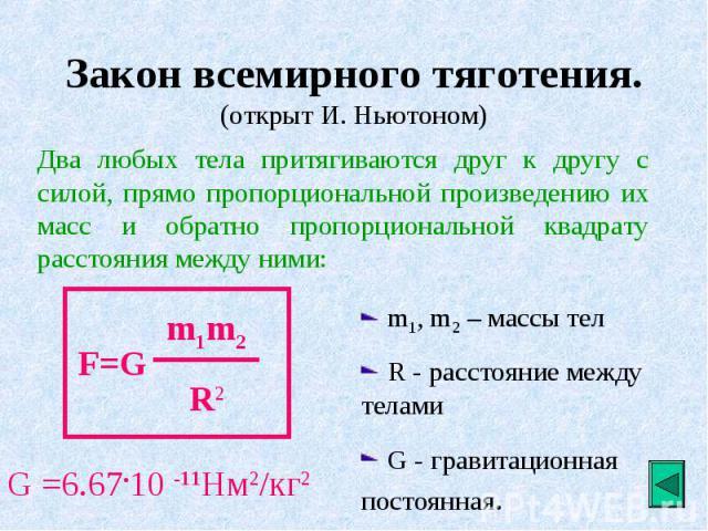 Закон всемирного тяготения. (открыт И. Ньютоном)