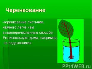 Черенкование листьями Черенкование листьями намного легче чем вышеперечисленные