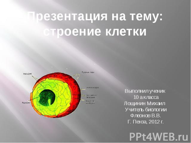Презентация на тему: строение клетки Выполнил ученик 10 а класса Лощинин Михаил Учитель биологии Флеонов В.В. Г. Пенза, 2012 г.