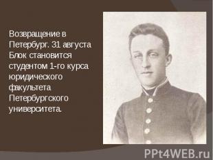 Возвращение в Петербург. 31 августа Блок становится студентом 1-го курса юридиче