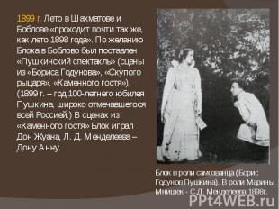 1899 г. Лето в Шахматове и Боблове «проходит почти так же, как лето 1898 года».