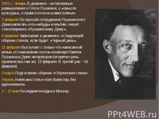 1921 г., январь В дневнике – интенсивные размышления о Гете и Пушкине, о «смысле