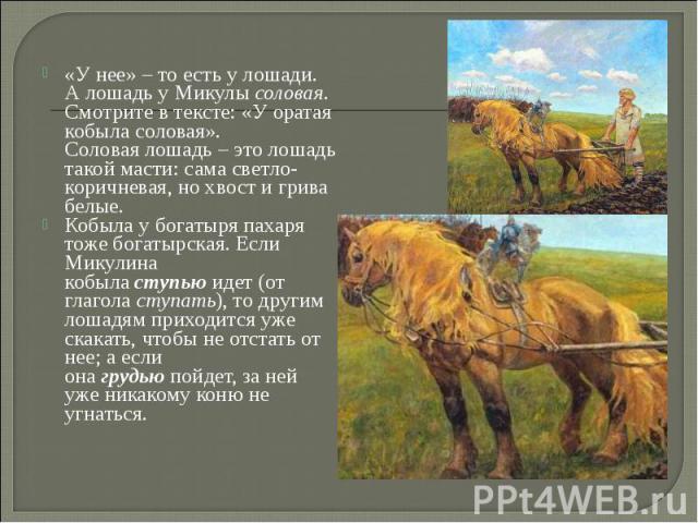 «У нее» – то есть у лошади. А лошадь у Микулысоловая. Смотрите в тексте: «У оратая кобыла соловая». Соловаялошадь – это лошадь такой масти: сама светло-коричневая, но хвост и грива белые. «У нее» – то есть у лошади. А лошадь у Микулы&nbs…