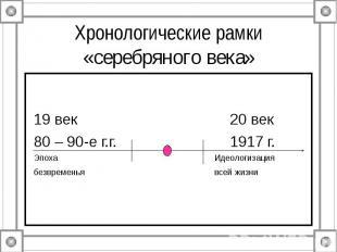 Хронологические рамки «серебряного века»