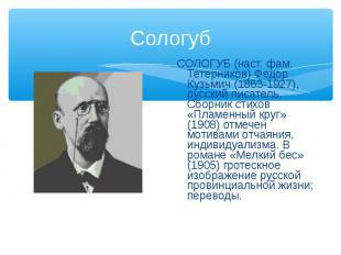 СОЛОГУБ (наст. фам. Тетерников) Федор Кузьмич (1863-1927), русский писатель. Сбо