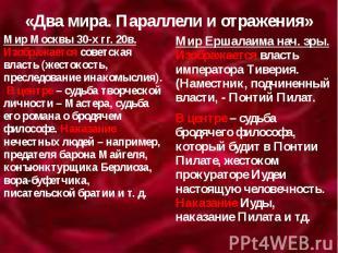 «Два мира. Параллели и отражения» Мир Москвы 30-х гг. 20в. Изображается советска