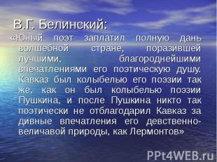 В.Г. Белинский: «Юный поэт заплатил полную дань волшебной стране, поразившей луч