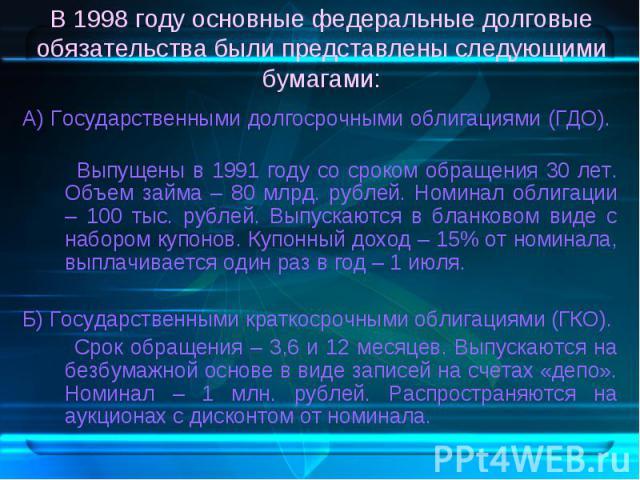 А) Государственными долгосрочными облигациями (ГДО). А) Государственными долгосрочными облигациями (ГДО). Выпущены в 1991 году со сроком обращения 30 лет. Объем займа – 80 млрд. рублей. Номинал облигации – 100 тыс. рублей. Выпускаются в бланковом ви…