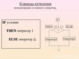 IF условие THEN оператор 1 ELSE оператор 2; IF условие THEN оператор 1 ELSE опер