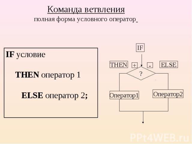 IF условие THEN оператор 1 ELSE оператор 2; IF условие THEN оператор 1 ELSE оператор 2;
