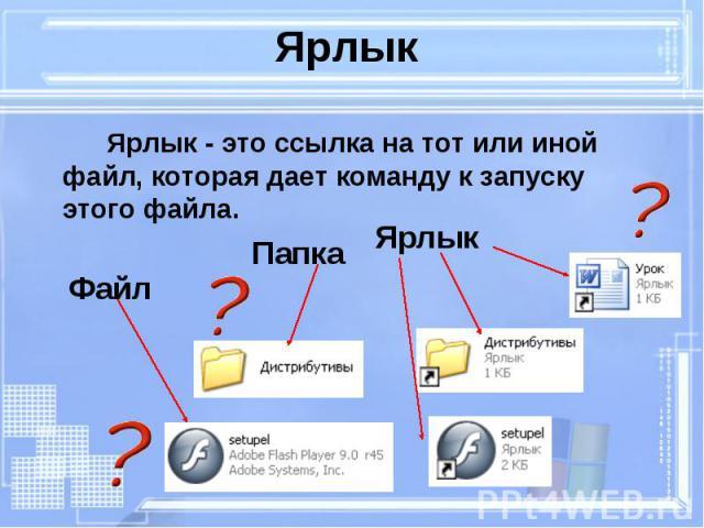 Ярлык - это ссылка на тот или иной файл, которая дает команду к запуску этого файла. Ярлык - это ссылка на тот или иной файл, которая дает команду к запуску этого файла.