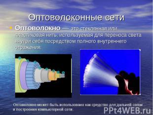 Оптоволоконные сети Оптоволокно — это стеклянная или пластиковая нить, используе