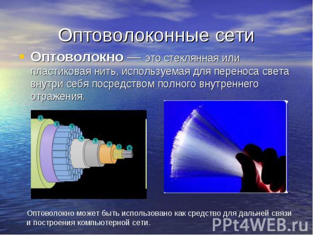 Оптоволоконные сети Оптоволокно — это стеклянная или пластиковая нить, используемая для переноса света внутри себя посредством полного внутреннего отражения.