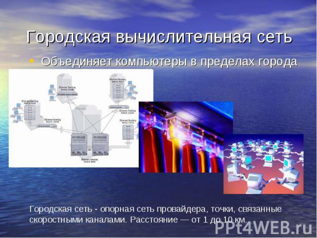 Городская вычислительная сеть Объединяет компьютеры в пределах города