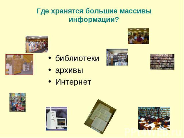 библиотеки библиотеки архивы Интернет