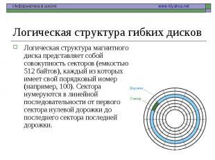 Логическая структура магнитного диска представляет собой совокупность секторов (