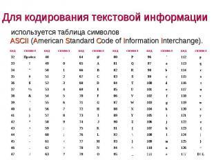 используется таблица символов ASCII (American Standard Code of Information Inter