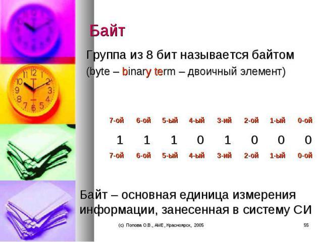 Группа из 8 бит называется байтом Группа из 8 бит называется байтом (byte – binary term – двоичный элемент)