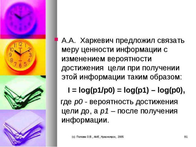 А.А. Харкевич предложил связать меру ценности информации с изменением вероятности достижения цели при получении этой информации таким образом: А.А. Харкевич предложил связать меру ценности информации с изменением вероятности …
