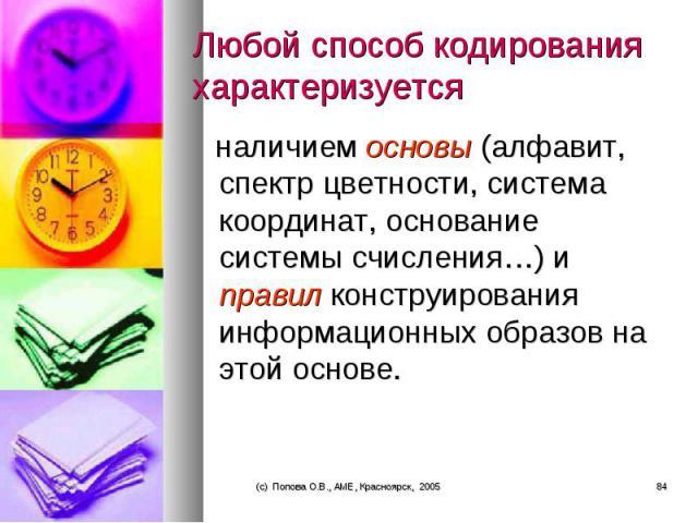 наличием основы (алфавит, спектр цветности, система координат, основание системы счисления…) и правил конструирования информационных образов на этой основе. наличием основы (алфавит, спектр цветности, система координат, основание системы счисления…)…