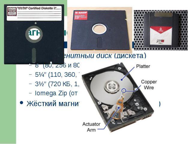Гибкий магнитный диск (дискета) Гибкий магнитный диск (дискета) 8″ (80, 256 и 800 Кб) 5¼″ (110, 360, 720 или 1200 Кб) 3½″ (720 КБ, 1,44 Мб, 2,88 Мб) Iomega Zip (от 2,88 Мб до 750 Мб) Жёсткий магнитный диск (4 Мб – 5 Тб)