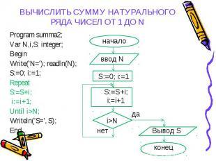 Program summa2; Program summa2; Var N,i,S: integer; Begin Write('N='); readln(N)