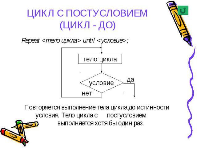 Repeat <тело цикла> until <условие>; Repeat <тело цикла> until <условие>; Повторяется выполнение тела цикла до истинности условия. Тело цикла с постусловием выполняется хотя бы один раз.