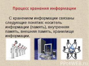 С хранением информации связаны следующие понятия: носитель информации (память),