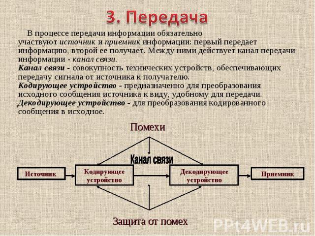 В процессе передачи информации обязательно участвуютисточникиприемникинформации: первый передает информацию, второй ее получает. Между ними действует канал передачи информации -канал связи. Канал связи -сово…
