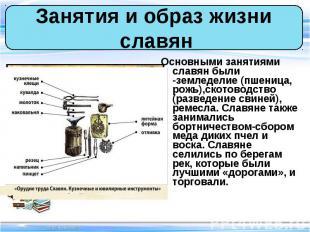 Основными занятиями славян были -земледелие (пшеница, рожь),скотоводство (развед