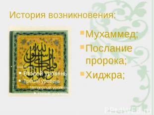 История возникновения: Мухаммед; Послание пророка; Хиджра;