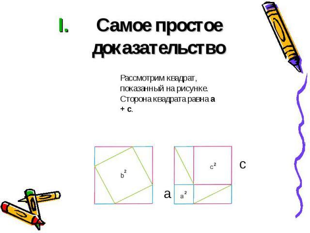 Самое простое доказательство Рассмотрим квадрат, показанный на рисунке. Сторона квадрата равна a + c.