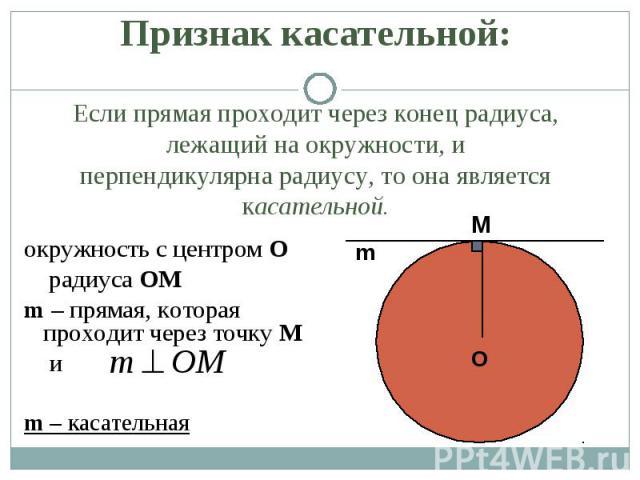 окружность с центром О окружность с центром О радиуса OM m – прямая, которая проходит через точку М и m – касательная