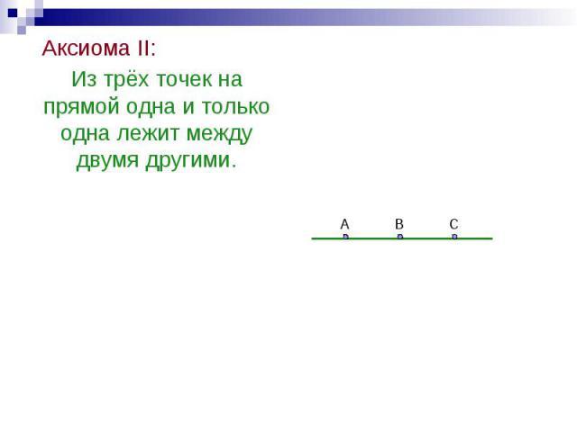 Аксиома II: Аксиома II: Из трёх точек на прямой одна и только одна лежит между двумя другими.