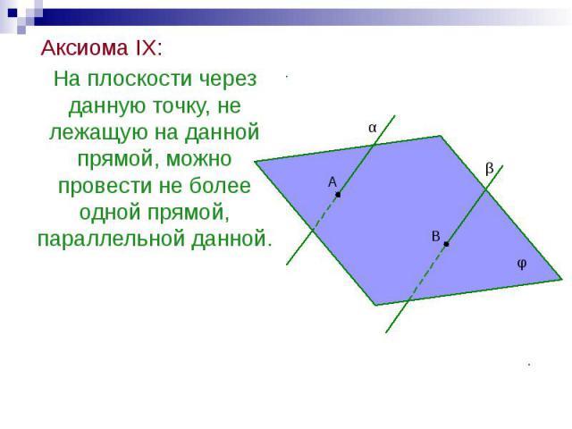 Аксиома IX: Аксиома IX: На плоскости через данную точку, не лежащую на данной прямой, можно провести не более одной прямой, параллельной данной.