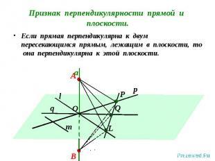 Если прямая перпендикулярна к двум пересекающимся прямым, лежащим в плоскости, т