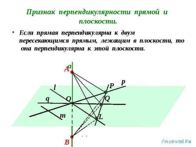 Если прямая перпендикулярна к двум пересекающимся прямым, лежащим в плоскости, то она перпендикулярна к этой плоскости. Если прямая перпендикулярна к двум пересекающимся прямым, лежащим в плоскости, то она перпендикулярна к этой плоскости.