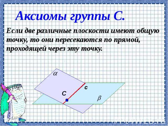 Аксиомы группы С. Если две различные плоскости имеют общую точку, то они пересекаются по прямой, проходящей через эту точку.