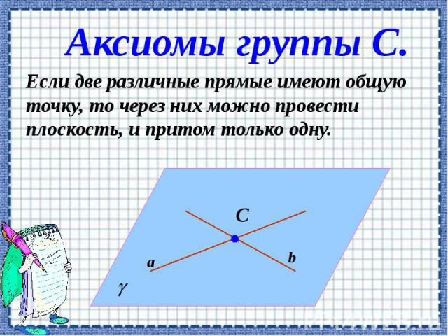 Аксиомы группы С. Если две различные прямые имеют общую точку, то через них можно провести плоскость, и притом только одну.