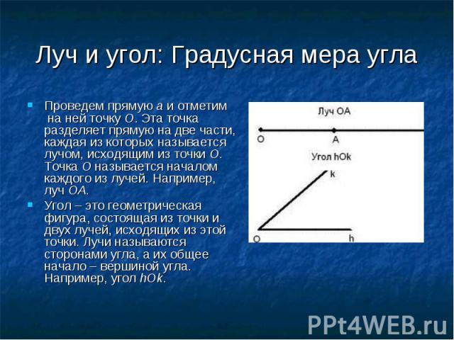 Проведем прямую a и отметим на ней точку O. Эта точка разделяет прямую на две части, каждая из которых называется лучом, исходящим из точки O. Точка O называется началом каждого из лучей. Например, луч OA. Проведем прямую a и отметим на ней точку O.…