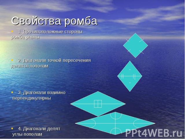 1. Противоположные стороны 1. Противоположные стороны ромба равны 2. Диагонали точкой пересечения делятся пополам 3. Диагонали взаимно перпендикулярны 4. Диагонали делят углы пополам