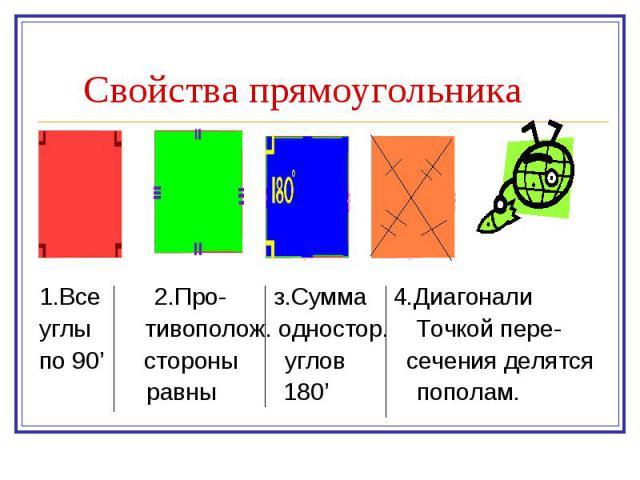 1.Все 2.Про- з.Сумма 4.Диагонали 1.Все 2.Про- з.Сумма 4.Диагонали углы тивополож. одностор. Точкой пере- по 90' стороны углов сечения делятся равны 180' пополам.
