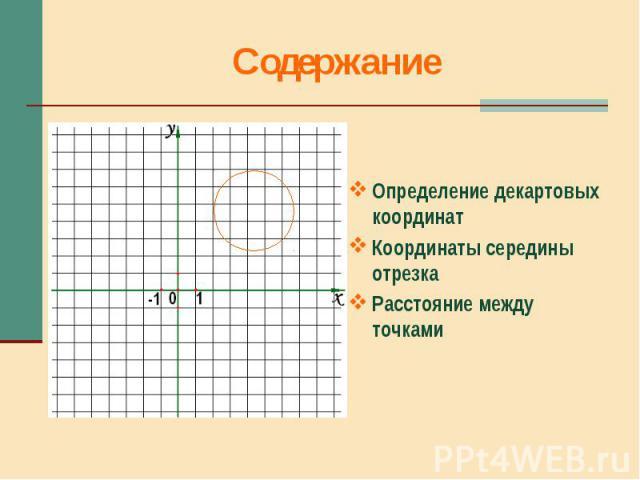 Определение декартовых координат Координаты середины отрезка Расстояние между точками